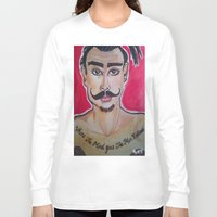 greg guillemin Long Sleeve T-shirts featuring MOUSTACHED MODEL (GREG)  by Punkboy Marti