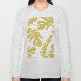 Simply Mod Yellow Palm Leaves Long Sleeve T-shirt