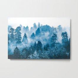 Blue Foggy Forest Adventure #46 Metal Print