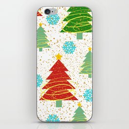 Christmas trees and snowflakes iPhone Skin