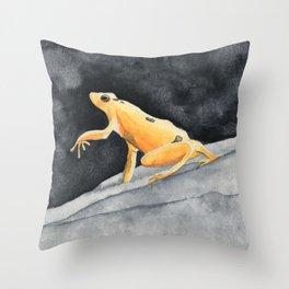 Golden frog Throw Pillow