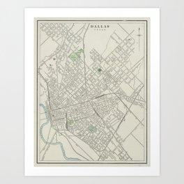 Vintage Map of Dallas Texas (1901) Art Print