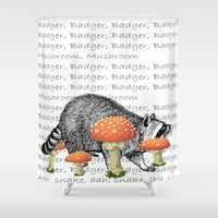 badger Shower Curtains featuring badger by vidikay