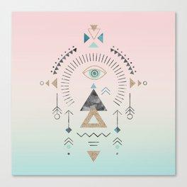 Magic Tribal Ornament Soft Pastels And Gold Canvas Print