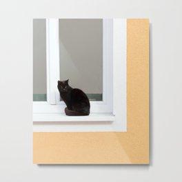 Black Cat on Orange Yellow Metal Print