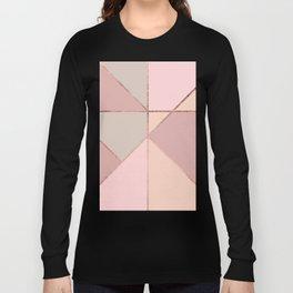 Modern rose gold peach blush pink color block Long Sleeve T-shirt