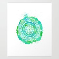 Green & Blue mandala  Art Print