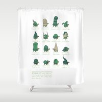 study Shower Curtains featuring A Study of Turtles by Hector Mansilla