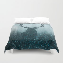Snow Stag Silhouette Duvet Cover