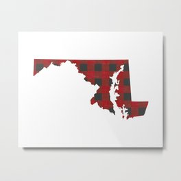 Maryland Plaid in Red Metal Print