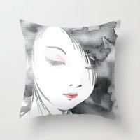 hentai Throw Pillows featuring Geisha by Nxolab