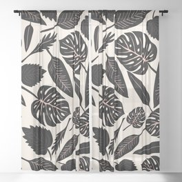 Monstera pattern in black and pastel Sheer Curtain