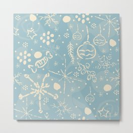 Cozy Winter Doodles Metal Print