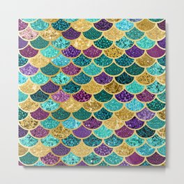 Glitter Blues, Purples, Greens, and Gold Mermaid Scales Metal Print