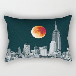 Blood Moon over New York City Skyline Rectangular Pillow