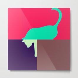 cat design in shock pink Metal Print