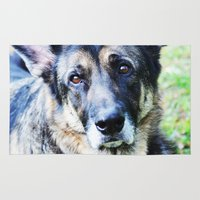 german shepherd Area & Throw Rugs featuring GERMAN SHEPHERD PHOTOGRAPH by Allyson Johnson