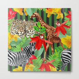 Wild Animals Jungle Pattern Metal Print