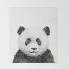 Baby Panda Watercolor Throw Blanket