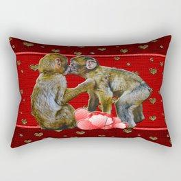 Kissing Chimpanzees Floating Hearts Rectangular Pillow