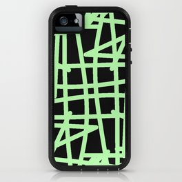 Black and neon green modern abstract pattern iPhone Case