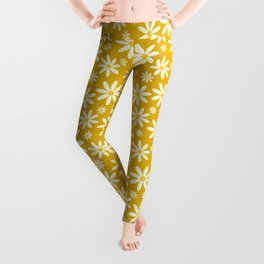 Retro Groovy Daisy Flower Power Vintage Pattern in Ivory, Golden Yellow Mustard Color, Oil Texture Leggings