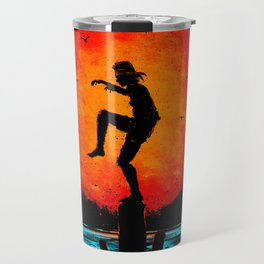 Minimalist Karate Kid Tribute Painting Travel Mug