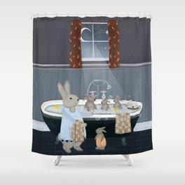 bunny bath time Shower Curtain