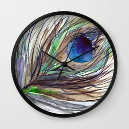 Peacock piece || watercolor Wall Clock