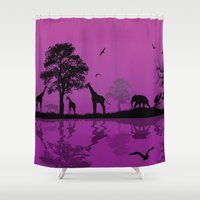 african Shower Curtains featuring African Landscape by Robin Curtiss
