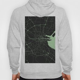 Dublin Street Map Black and Lime Green Hoody