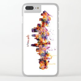 Minneapolis Watercolor Skyline Clear iPhone Case
