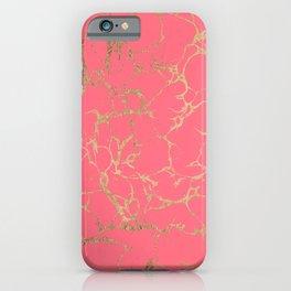 Elegant coral gold faux foil marble pattern iPhone Case