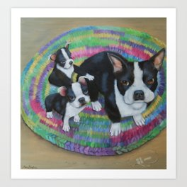 Boston Terrier and Puppies Art Print