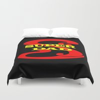 dad Duvet Covers featuring Super Dad by Brian Raggatt