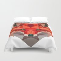 low poly Duvet Covers featuring Low poly Fox by exya