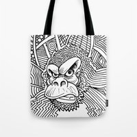 planet of the apes Tote Bags featuring Rise of the Dawn of the Planet of the Psychedelic Apes by The Rural drawer by Inky Doodles
