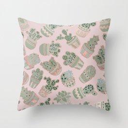 Blush pink mint green rose gold cactus floral Throw Pillow