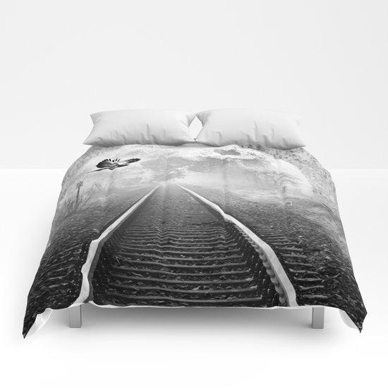 Railway to the moon in b&w Comforters
