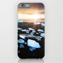 Fire and Ice Black Sand Sunset, Coastal Landscape Photograph iPhone Case