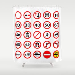 Road Signs - Red Round Shower Curtain