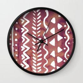 Loose boho chic pattern - purple brown Wall Clock