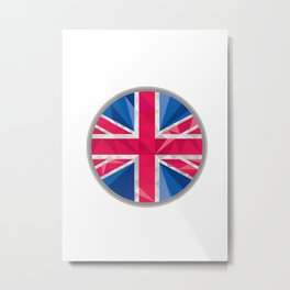 Union Jack UK GB Flag Circle Low Polygon Metal Print