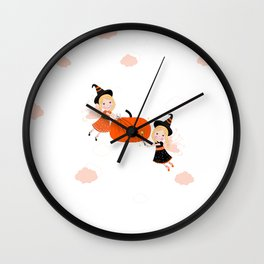 Happy Halloween background with cute fairy holding pumpkin seamless pattern Wall Clock