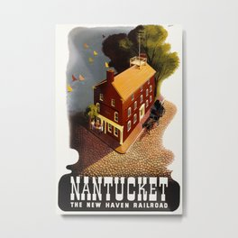 Vintage Travel - Poster - Nantucket, The New Haven Railroad Metal Print