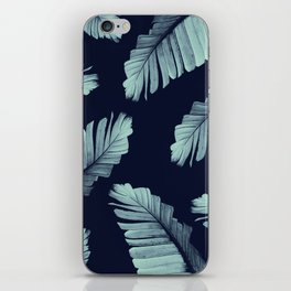 Navy Blue Banana Leaves Dream #2 #tropical #decor #art #society6 iPhone Skin