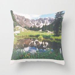 Reflections in a tarn - Gore Range, Colorado Throw Pillow