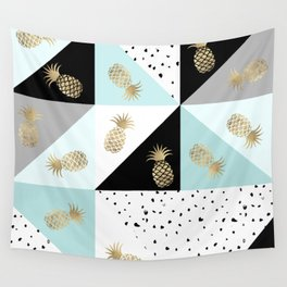 Pastel color block watercolor dots faux gold pineapple Wall Tapestry