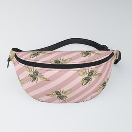 Honey Bee Neck Gator Pink and White Striped Bee Pattern Fanny Pack