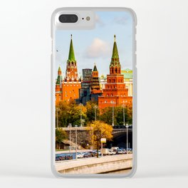 Moscow Kremlin in autumn panorama left Clear iPhone Case